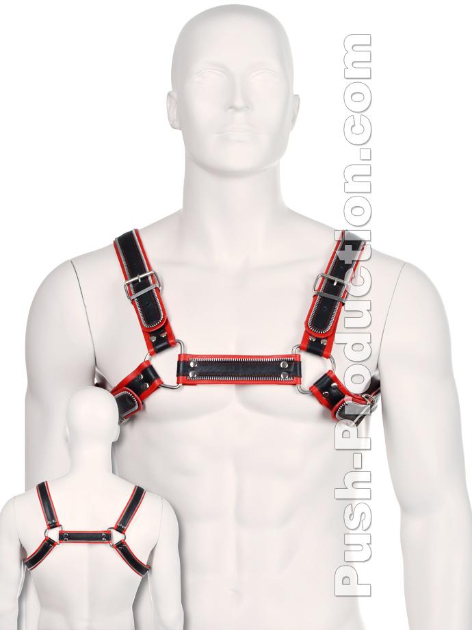 Bulldog Zipper Design Leather Harness - Black/Red