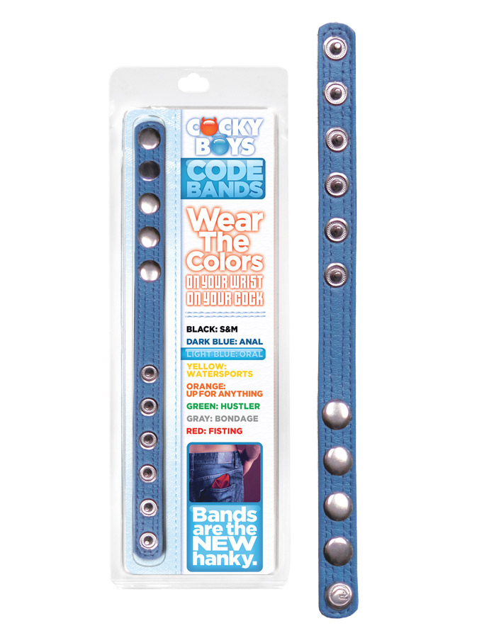 CockyBoys Leather Code Band - Light Blue - Oral