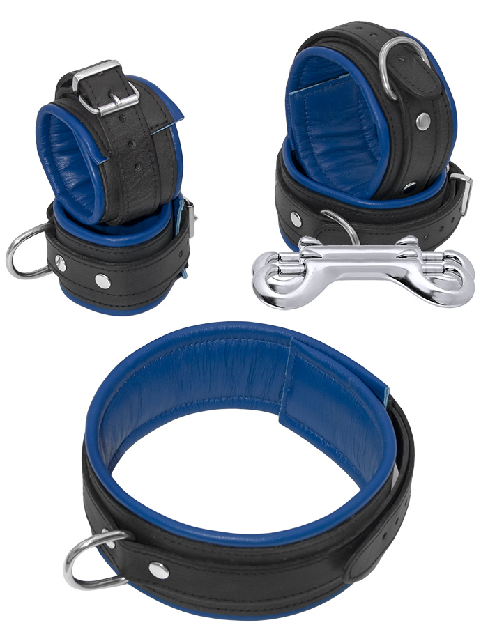Leather Bondage Set 5 Pieces Black-Blue