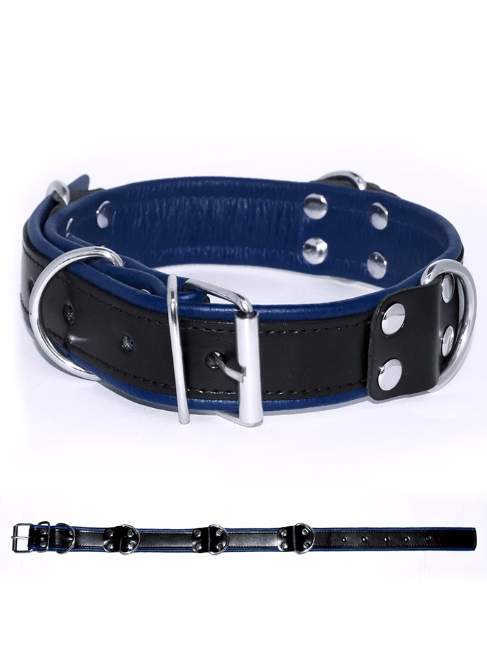 Deluxe Bondage Collar - Black/Blue
