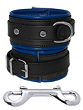 Leather Ankle Cuffs Black-Blue