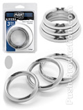 Push Steel - Heavy Duty Donut Cockring 3-Ring Set Large